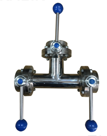Tee Butterfly valve with three handle