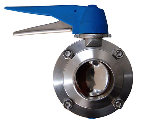 Welded butterfly valve with multi-position handle